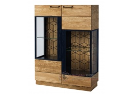 MOSAIC, vitrína 2-dveřová nízká 15, dub / černá