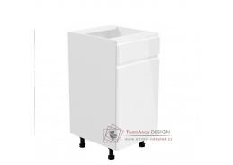 AURORA, dolní kuchyňská skříňka D40S1 - pravá, bílá / bílý lesk