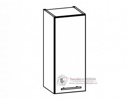 TIFFANY, horní skříňka T2/G30, bílá / bílý lesk