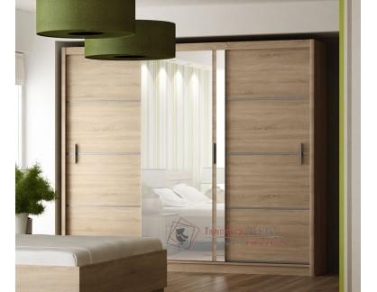 VISTA, šatní skříň s posuvnými dveřmi 250cm, dub sonoma / zrcadlo