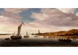 D-8403 Salomon van Ruysdael - Pohled na řeku Rýn u Rhenenu