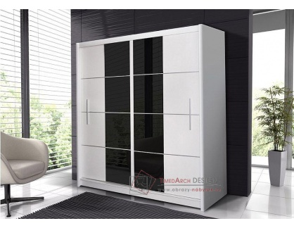 PORTO, šatní skříň s posuvnými dveřmi 203cm, bílá / černé sklo