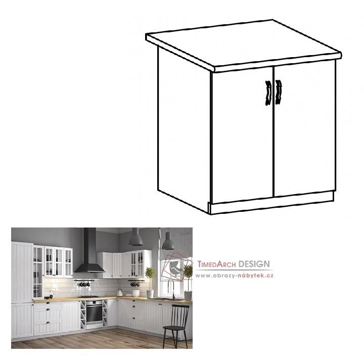 Dolní skříňka dvojdveřová D60 PROVANCE bílá / borovice Andersen