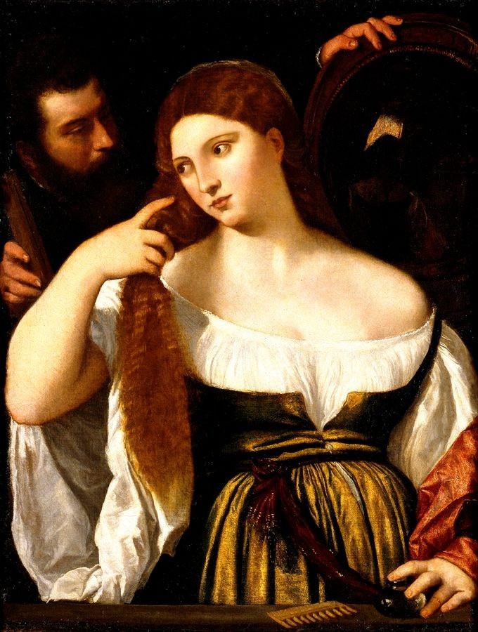 Tizian - Dívka před zrcadlem