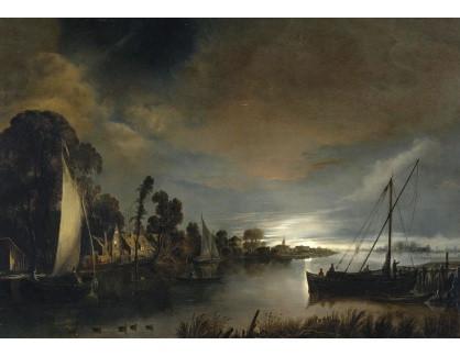 Slavné obrazy XVI-189 Anthonie van Borsuum - Říční krajina za svitu měsíce