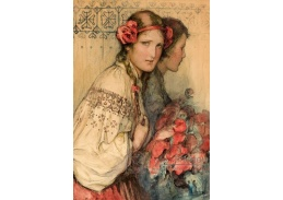 Slavné obrazy X 100 Wladislaw Theodore Benda - Dívka s kytici květin