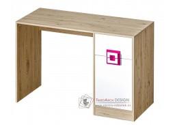 NIKO 10, pracovní stůl, dub jasný / bílá / růžová