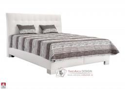 SARA, postel 160x200cm, koženka LOFT 1 / látka HELENA DUO 1A  / BEZ matrací