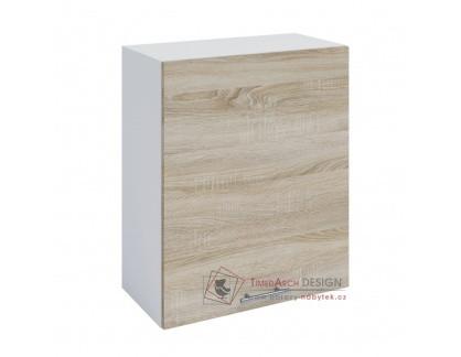FABIANA, horní skříňka 1-dveřová W-60, bílá / dub sonoma