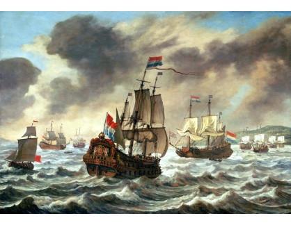 VL63 Reinier Nooms - Před bitvou u Downs, 21. října 1639, vlajková loď Amelia