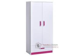 TRAFICO 01, šatní skříň dvoudveřová, bílá / růžová