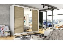 ASTON I, šatní skříň s posuvnými dveřmi 250cm, bílá / dub sonoma / zrcadlo