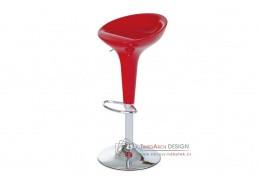 AUB-9002 RED, barová židle, chrom / plast červený