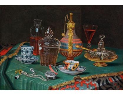 Slavné obrazy III-DDSO-525 Christian Berentz - Zátiší se skleněnými nádobami, porcelánovými šálky a kapesními hodinkami