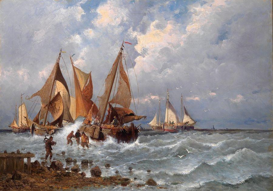 Slavné obrazy XVI-10 Adolf Kaufmann - Rybáři na pobřeží