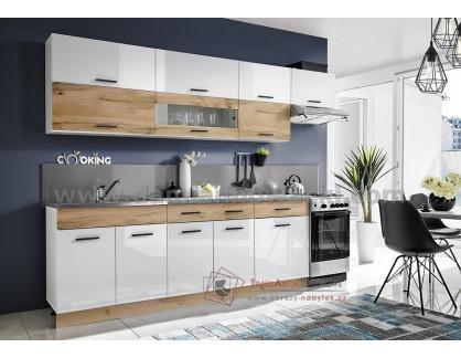 KORAL, kuchyně 280cm, bílá / dub wotan / bílý lesk