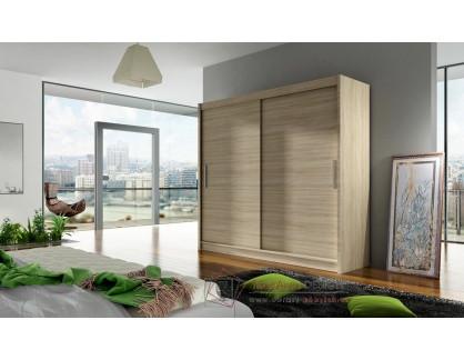 BEGGA I, šatní skříň s posuvnými dveřmi 180cm, dub sonoma