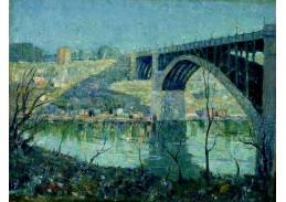 Krásné obrazy III-102 Ernest Lawson - Jarní noc na řece Harlem