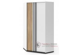VENIDI 01, šatní skříň rohová, bílá / světle šedá / grafit / salisbury