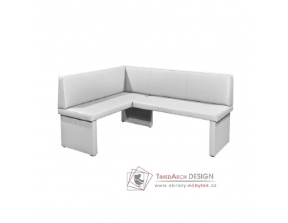 MODERN, rohová lavice - levá, ekokůže bílá
