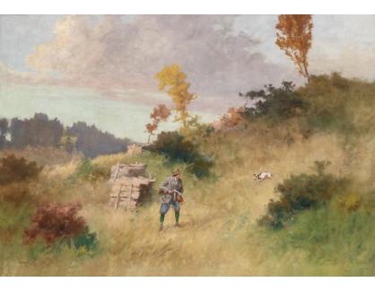 Slavné obrazy XVI-185 Antal Neogrady - Myslivec na lovu