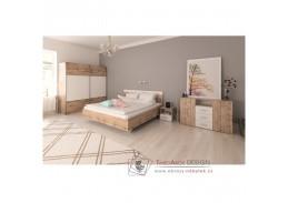 GABRIELA, ložnicový komplet s posteli 160x200cm, dub wotan / bílá