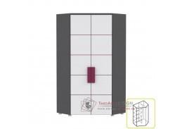 LOBETE 89, rohová kombinovaná skříň, šedá / bílá / fialová