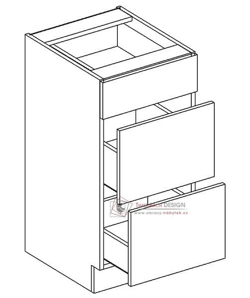 Dolní skříňka se zásuvkami D40/S3 PAULA šedá / bílý mat