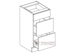 PAULA, dolní skříňka se 3-mi zásuvkami D40S3, šedá / bílá