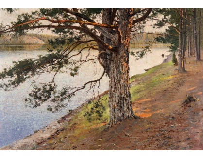 Slavné obrazy III-DDSO-481 August Hagborg - Stromy u řeky