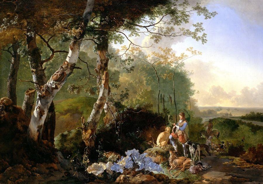 Slavné obrazy XIV-46 Adam Pynacker - Krajina s lovci