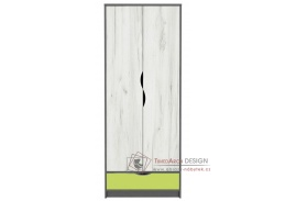DISNEY, šatní skříň 2-dveřová 2D, dub kraft bílý / šedý grafit / imeta