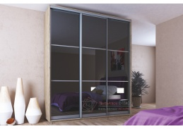 MIDNIGHT, šatní skříň s posuvnými dveřmi 200cm, dub sonoma / černé sklo