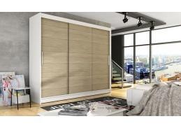 ASTON II, šatní skříň s posuvnými dveřmi 250cm, bílá / dub sonoma