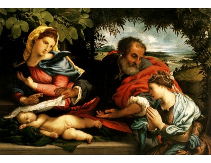 VLL 14 Lorenzo Lotto - Svatá rodina se svatou Kateřinou Alexandrijskou