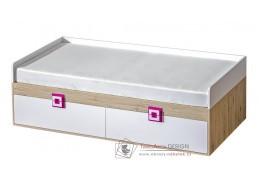 NIKO 14, postel 90x200cm, dub jasný / bílá / růžová