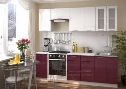 VALERIA, kuchyně 240cm, bílá / bílá metalic / granát metalic