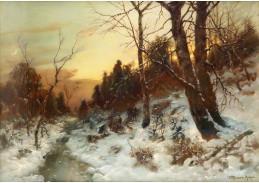 D-9326 Désireé Thomassin - Zimní lesní krajina se sběrači klestí