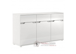ADONIS ASK 06, komoda 3-dveřová se 3-mi zásuvkami, bílá / vysoký lesk bílý