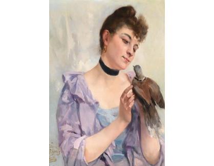 Slavné obrazy I-DDSO-14 Alexandre Bertin - Mladá žena s holubem