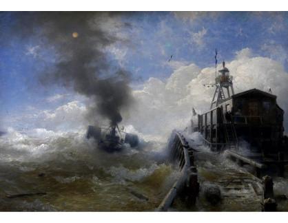 Slavné obrazy XVI-154 Andreas Achenbach - Remorkér opouštějící přístav Ostende za vysokého přílivu