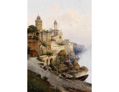 Krásné obrazy II-293 Karl Kaufmann - Pohled na Acireale v zálivu města Catania, Sicílie