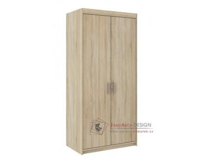 ELINA, šatní skříň 2D 90cm, dub sonoma