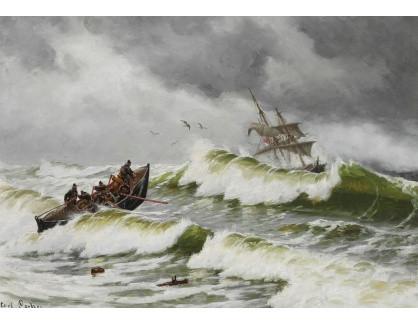 Slavné obrazy XVI-366 Carl Locher - Záchranný člun