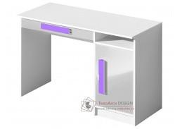 GULLIWER 09, pracovní stůl, bílá / bílý lesk / fialová