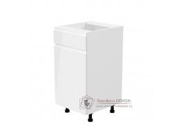 AURORA, dolní kuchyňská skříňka D40S1 - levá, bílá / bílý lesk