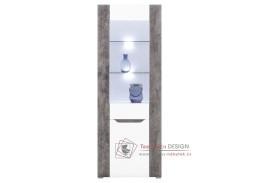 BRANDO B05, vitrína s LED osvětlením, bílá / beton / bílý lesk