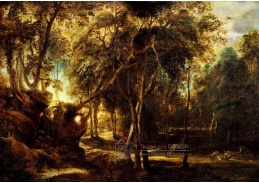 D-7555 Peter Paul Rubens - Les za úsvitu s lovem jelenů
