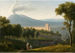 Slavné obrazy XVI-100 Alexandre-Hyacinthe Dunouy - Krajina s Vesuvem v dálce