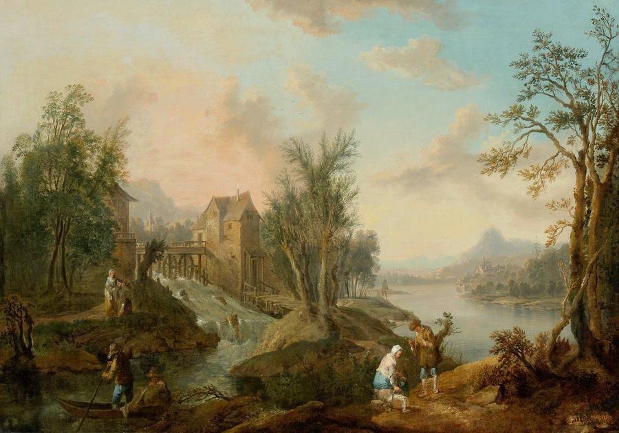 Krásné obrazy IV-102 Jean-Baptiste Lallemand - Pobřežní krajina s postavami